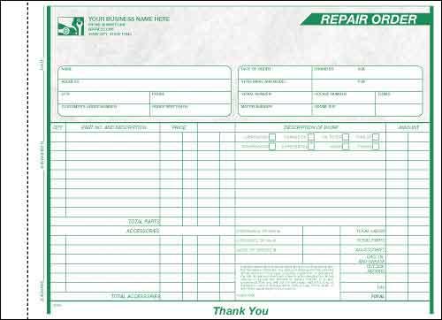 240056 a.k.a. 240056-3 Garage Repair Order Form - Carbonless