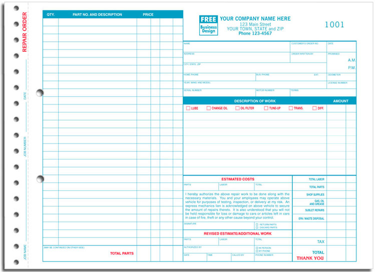 AKA  Garage Repair Order Form With Carbon