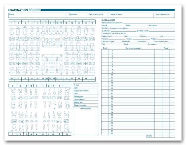 1057  horizontal dental exam record  anatomic
