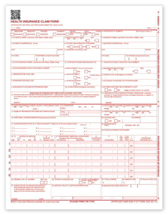 60152x, Cms1500 Laser Insurance Claim Form, Version 0212