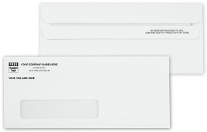 763 a.k.a. 763-1 #10 - 24lb White Side Seam Window Envelope, Self Seal Flip-N-Seal - Printed 1 Color