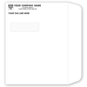 "747 a.k.a. 747-1 24lb White Side Seam Booklet Window Envelope Dry Gum, 11-1/2"" x 8-3/4"" - Printed 1 Color"