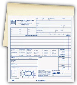 2527 a.k.a. 2527-2, 2527-3 Road Service & Towing Service Order Forms Books - Carbonless