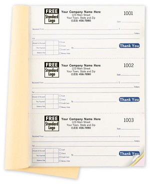 GEN0693 a.k.a. GEN0693-2, GEN0693-3 - 3 To Page Cash Receipt Books - NOTE: NOW with Wrap-Around Cover as shown