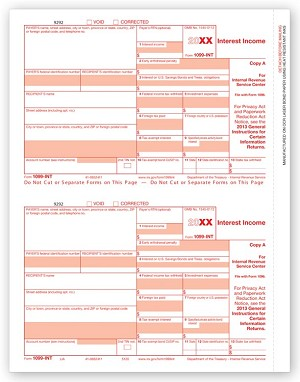 TF5120B 2 Up Laser 1099-INT Income, Federal Copy A - Tax Forms in BULK Packs