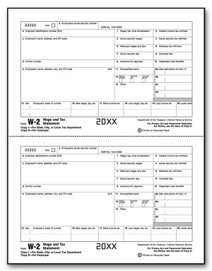 TF5204B - 2 Up W-2 Laser Employer Copy 1/Copy D - Tax Forms in BULK Packs
