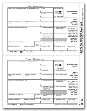 TF5112 a.k.a. 82628, BMISPAY05 - 2 Up 1099-Misc, Laser Payer/State Copy C Tax Form