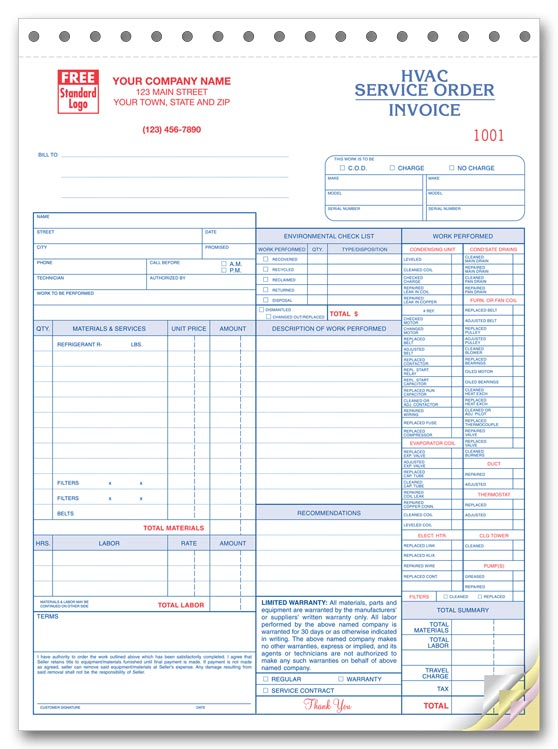 6501 a.k.a. 6501-3 HVAC Service Order Forms with Checklist ...