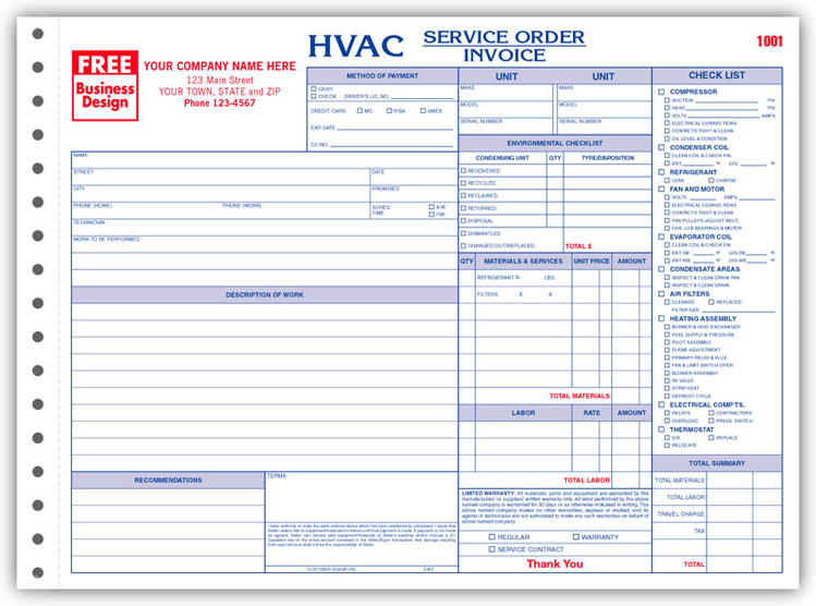 6534 A K A 6534 3 Hvac Service Order Forms With Checklist