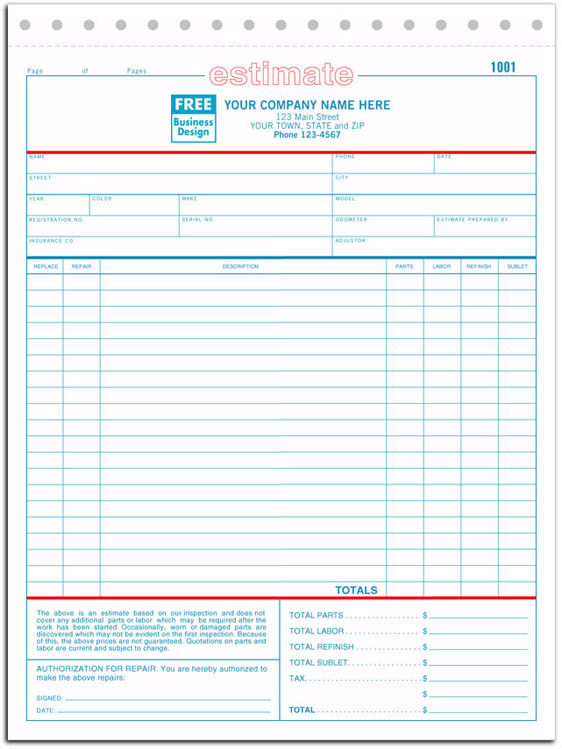 Repair Estimate Form | 660 A K A 660 2 660 3 Auto Repair Estimate Form Carbonless