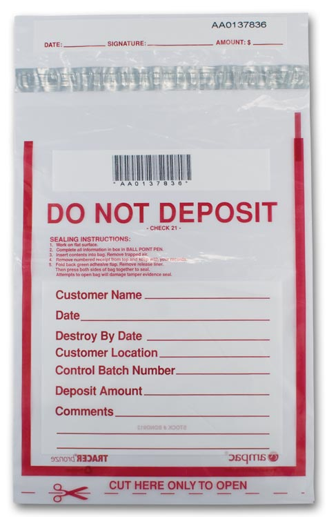 53881 Clear Do Not Deposit Bank Security Bag 9 X 12 Aso