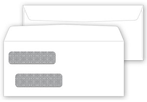 91585 a.k.a. 1115821, 00091585, RN DWE010 Double Window Security Tinted Forms Envelope - Dry Gum, Moisture Seal