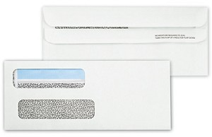 92502 a.k.a. 00X 033011, 00092502 Double Window Security Tinted Check Envelope, Self Seal
