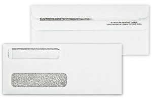 92564 a.k.a. 1238659 Double Window Security Tinted Check Envelope, Self Seal