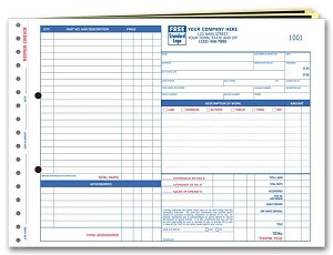 655 a.k.a. 655-3 Garage Repair Order Form with Carbon
