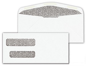 91700 Double Window Security Tinted Check Envelopes - Dry Gum, Moisture Seal