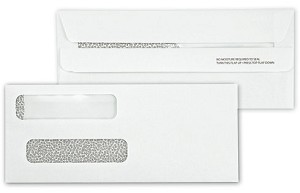 92534 a.k.a. E91534S14 Double Window Security Tinted Check Envelope, Self Seal