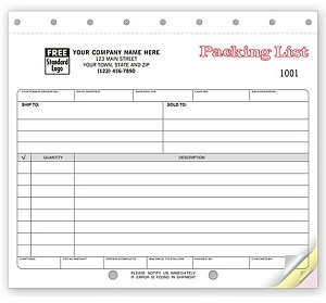 NEW 127 a.k.a. 127-2, 127-3, 240090 Packing Lists - Carbonless