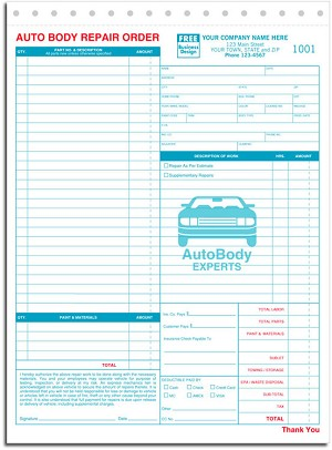 6597 a.k.a. 6597-3 Autobody Repair Order Form - Carbonless