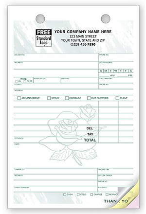 "672T a.k.a. 672T-2, 672T-3 LAYOUT A - Florists / Floral Register Forms - 5-1/2"" x 8-1/2"""