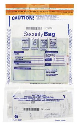 "NEW - 53857 Bank Security Deposit Bag. Clear Dual Pocket, 9 ½"" x 15"" aso Amazon.com"