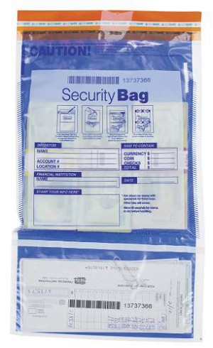 "NEW - 53858 Bank Security Deposit Bag, Dual Pocket Clear Front, Opaque Back, 9 ½"" x 15"" aso Amazon.com"