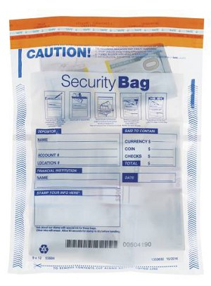 "NEW - 53884 Dual Pocket Clear Bank Security Deposit Bag, 9"" x 12"" aso Amazon.com"