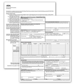 60156X, ADA 2012 1 Part Laser Sheet Insurance Claim Form - Size: 8 1/2 x 11""