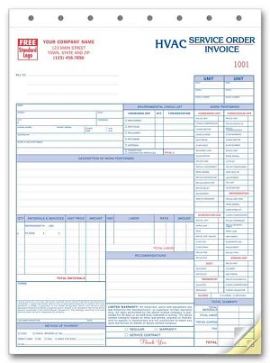 6531 a.k.a. 6531-3 HVAC Service Order Forms with Checklist (crash printed)